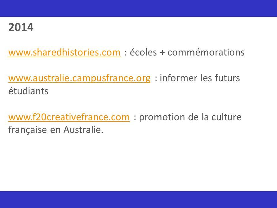 2014 www.sharedhistories.com : écoles + commémorations www.australie.campusfrance.org : informer les futurs étudiants www.f20creativefrance.com : prom