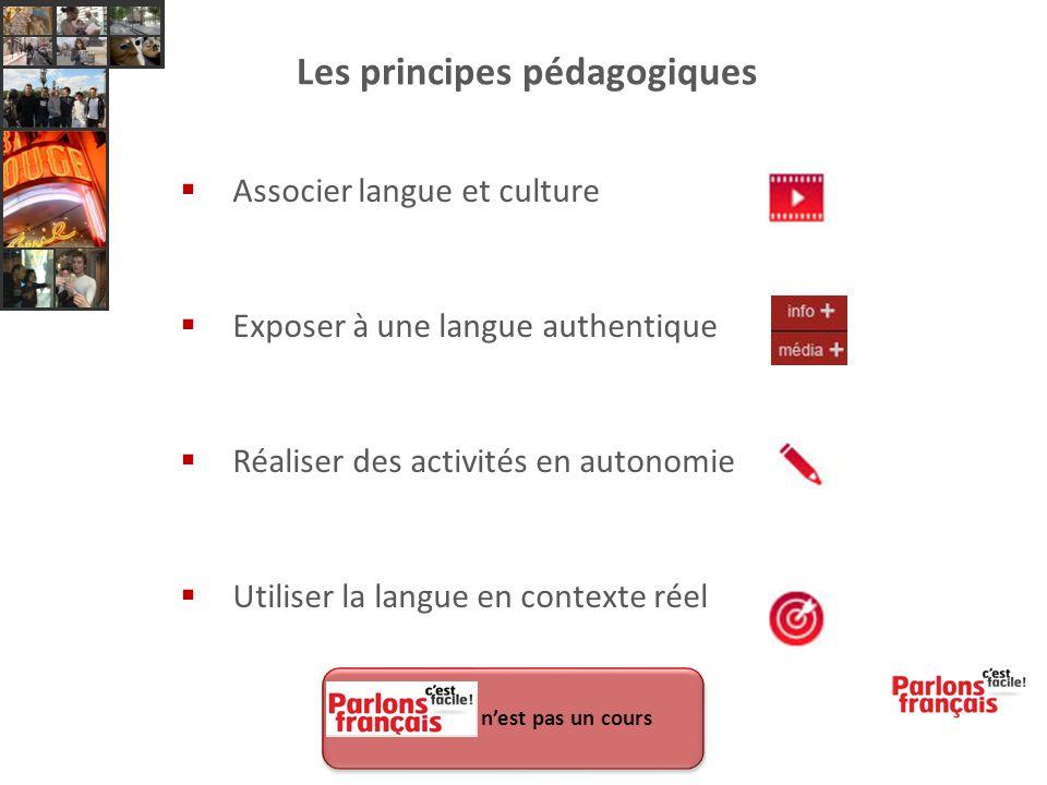 Les principes pédagogiques  Associer langue et culture  Exposer à une langue authentique  Réaliser des activités en autonomie  Utiliser la langue