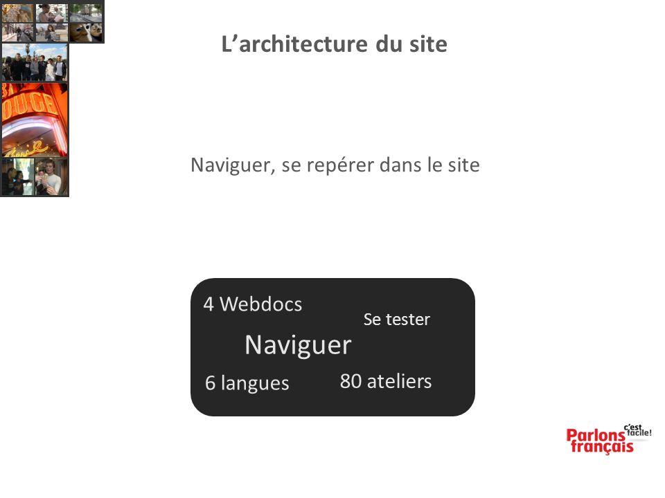 Naviguer, se repérer dans le site 4 Webdocs Naviguer Se tester 6 langues 80 ateliers L'architecture du site