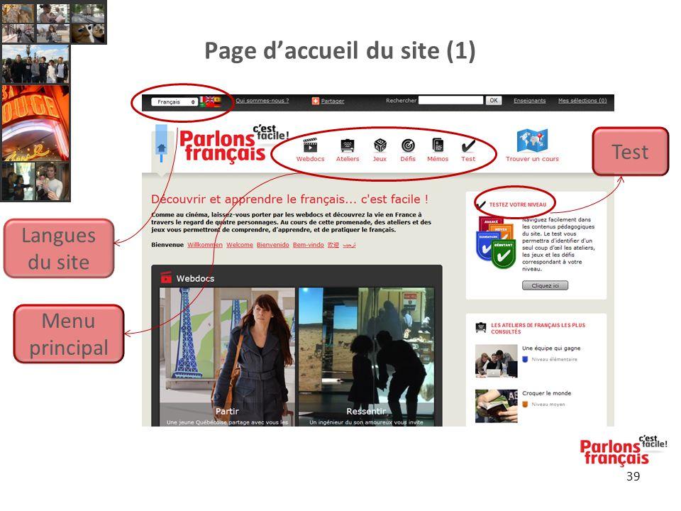 39 Page d'accueil du site (1) Menu principal Test Langues du site