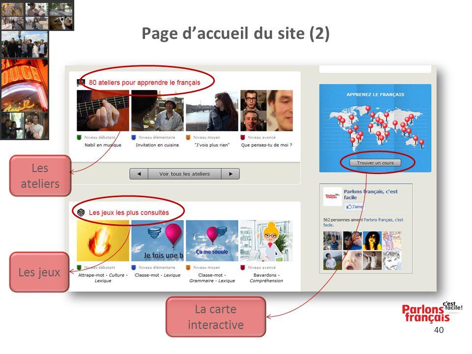 Page d'accueil du site (2) 40 Les ateliers Les jeux La carte interactive
