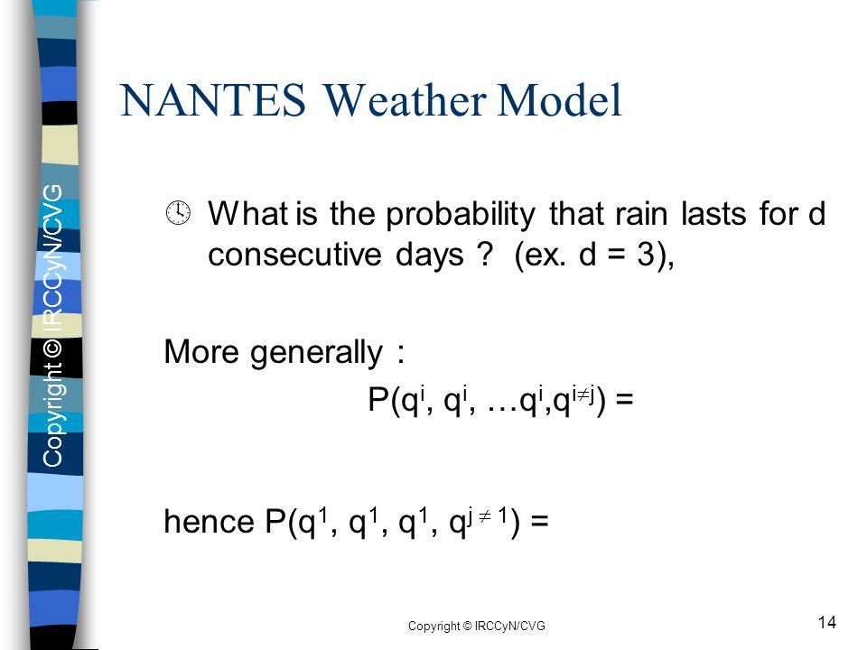 Copyright © IRCCyN/CVG 14 ºWhat is the probability that rain lasts for d consecutive days ? (ex. d = 3), More generally : P(q i, q i, …q i,q i  j ) =