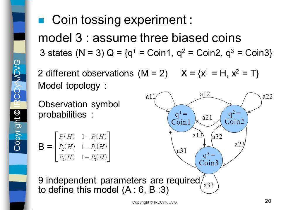 Copyright © IRCCyN/CVG 20 n Coin tossing experiment : model 3 : assume three biased coins 3 states (N = 3) Q = {q 1 = Coin1, q 2 = Coin2, q 3 = Coin3}