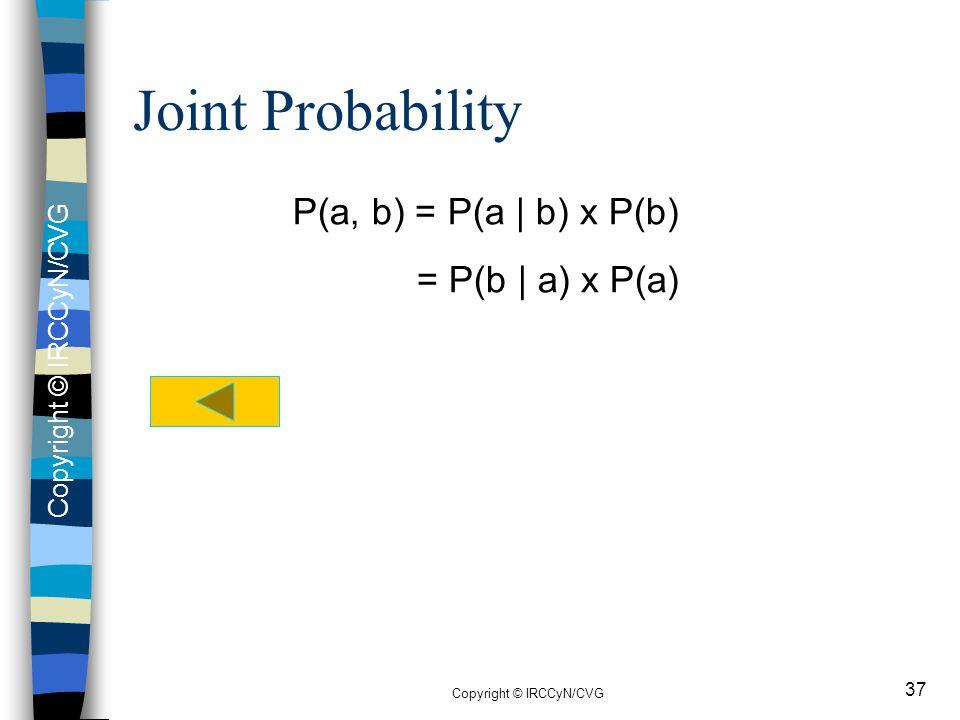 Copyright © IRCCyN/CVG 37 Joint Probability P(a, b) = P(a | b) x P(b) = P(b | a) x P(a)