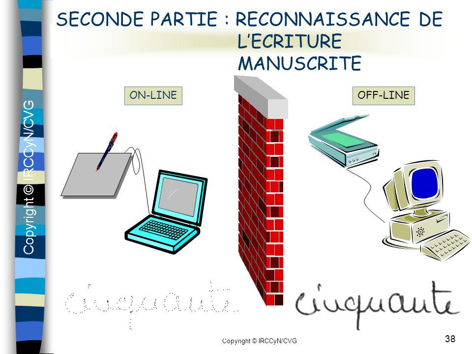 Copyright © IRCCyN/CVG 38 SECONDE PARTIE : RECONNAISSANCE DE L'ECRITURE MANUSCRITE ON-LINEOFF-LINE