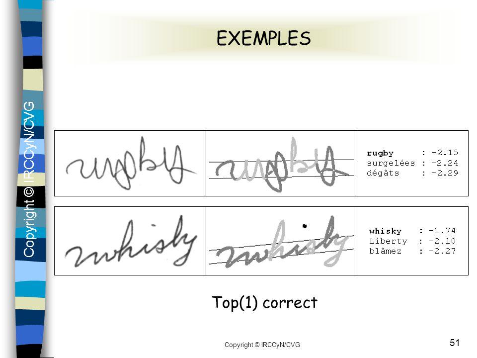 Copyright © IRCCyN/CVG 51 EXEMPLES Top(1) correct