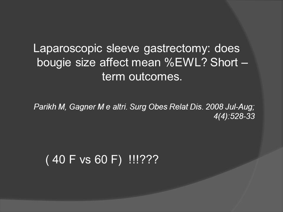 Laparoscopic sleeve gastrectomy: does bougie size affect mean %EWL? Short – term outcomes. Parikh M, Gagner M e altri. Surg Obes Relat Dis. 2008 Jul-A