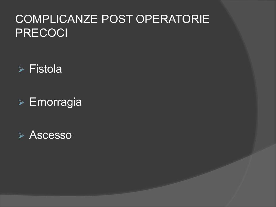 COMPLICANZE POST OPERATORIE PRECOCI  Fistola  Emorragia  Ascesso