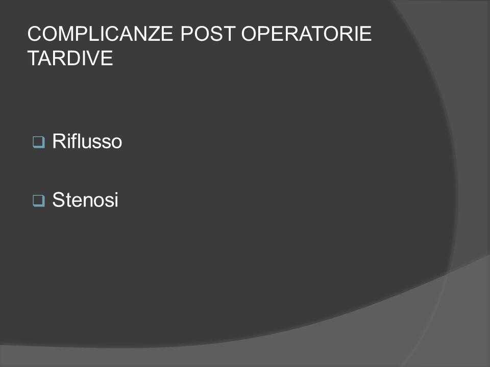 COMPLICANZE POST OPERATORIE TARDIVE  Riflusso  Stenosi