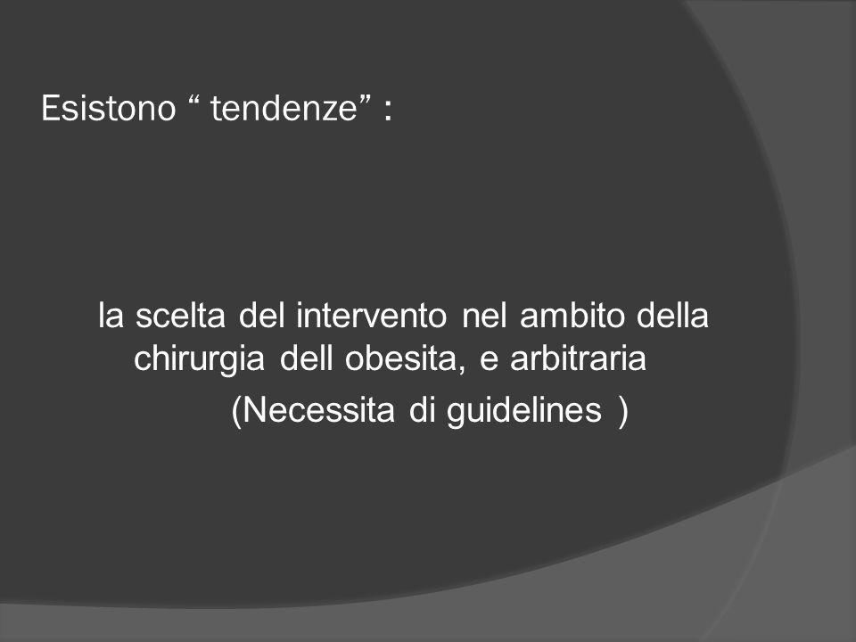 """Esistono """" tendenze"""" : la scelta del intervento nel ambito della chirurgia dell obesita, e arbitraria (Necessita di guidelines )"""