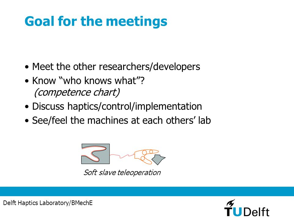 """Delft Haptics Laboratory/BMechE Goal for the meetings Meet the other researchers/developers Know """"who knows what""""? (competence chart) Discuss haptics/"""