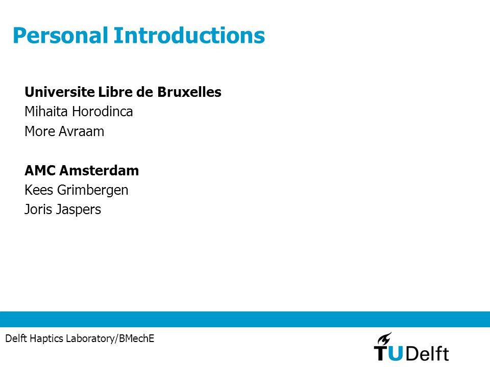 Delft Haptics Laboratory/BMechE Personal Introductions Universite Libre de Bruxelles Mihaita Horodinca More Avraam AMC Amsterdam Kees Grimbergen Joris Jaspers