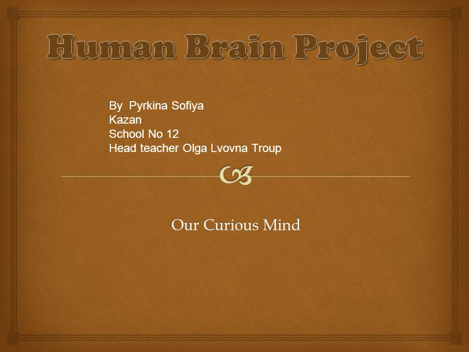 Our Curious Mind By Pyrkina Sofiya Kazan School No 12 Head teacher Olga Lvovna Troup