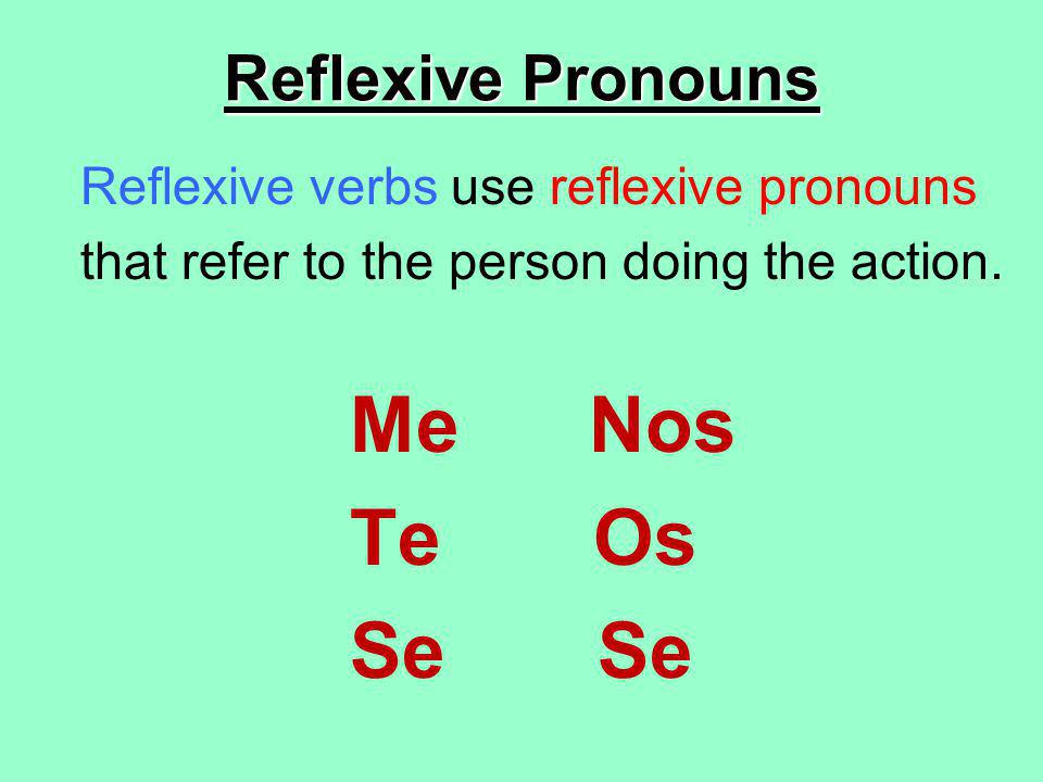 Reflexive Pronouns Reflexive verbs use reflexive pronouns that refer to the person doing the action.