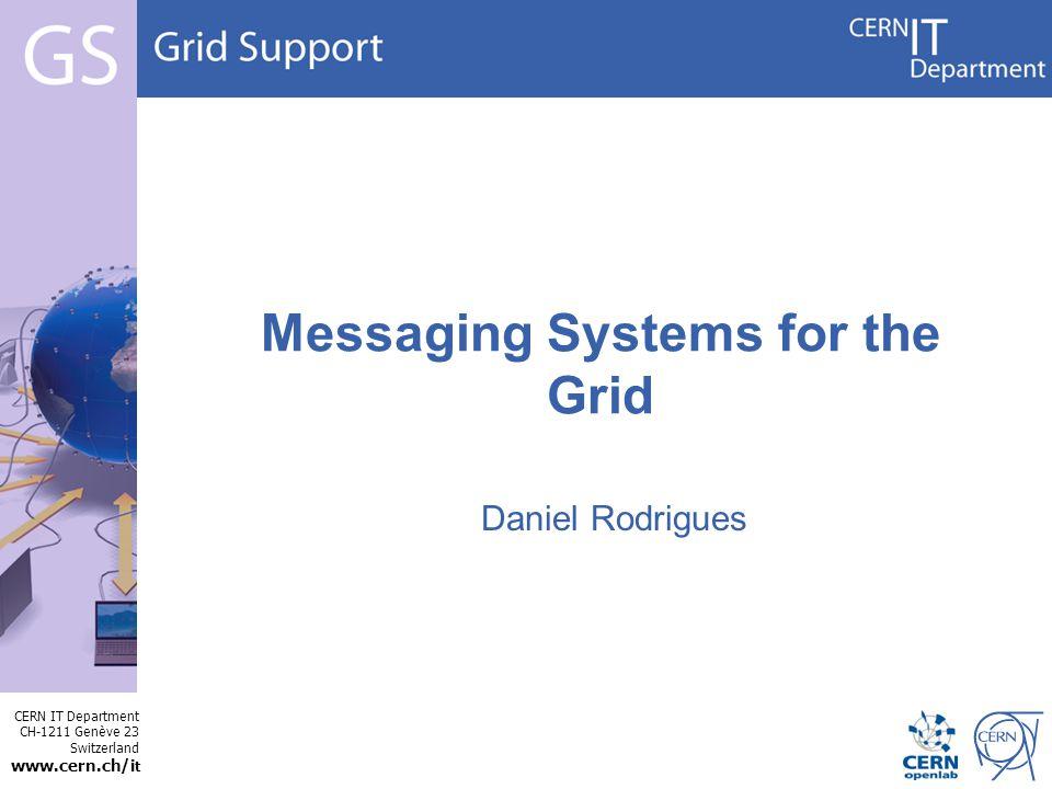 CERN IT Department CH-1211 Genève 23 Switzerland www.cern.ch/i t Internet Services Example: destination: /topic/grid.usage.transfer persistent:true transferProtocol: GridFTP msgEncodedTime: 2008-05-21T22:29:57,712Z MSG: Message transferProtocol: GridFTP publishingHost: lxfsrc5807.cern.ch voName: cms srcHost: lxfsrc5807.cern.ch destHost: c2fs008.grid.sinica.edu.tw gridftpStreams: 10 numberBytes: 2684354560 fileName: //castor/cern.ch/cms/store/PhEDEx_LoadTest07_4/LoadTest07_CERN_3e6 startTime: 20-05-2008T13:17:07.514952Z endTime: 20-05-2008T13:33:58.156241Z userName: cms001 EOT transferProtocol: GridFTP publishingHost: lxfsrc5807.cern.ch voName: cms srcHost: lxfsrc5807.cern.ch destHost: diskserv-san-20.cr.cnaf.infn.it gridftpStreams: 3 numberBytes: 2684354560 fileName: //castor/cern.ch/cms/store/PhEDEx_LoadTest07_4/LoadTest07_CERN_F1 startTime: 20-05-2008T13:17:46.811483Z endTime: 20-05-2008T13:34:21.227585Z userName: cms001 EOT