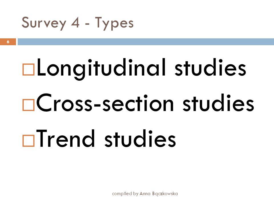 Survey 3- Process of planning a survey compiled by Anna Bączkowska 5  Define objectives  Decide on the kind of survey (e.g. longitudinal, cross-sect
