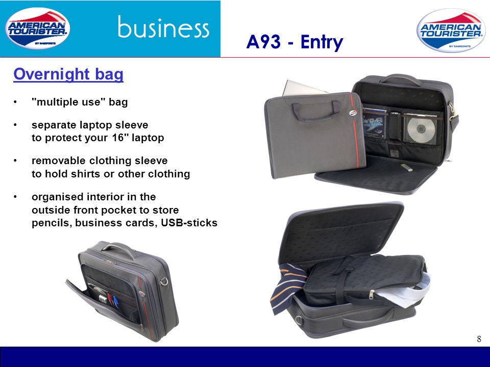 9 256 COMPUCASES Key Features: - organised front pocket - adjustable laptop compartment - removable shoulder strap Available StyleRetail 016 Office case.- 037 Shoulderbag.- 044 Messenger Bag.- 045 Backpack.- Colour : black Fabric: 600 D Polyester Available: from stock