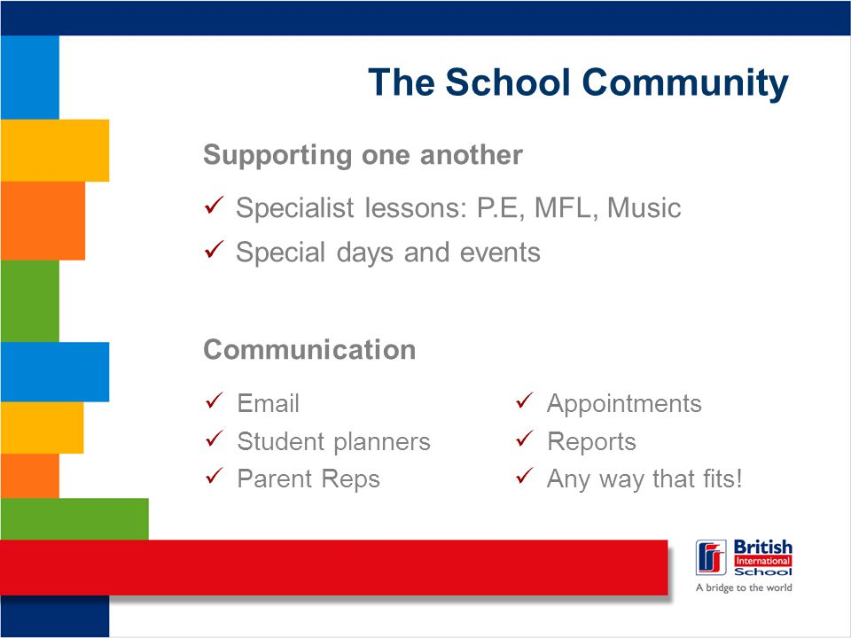 The School Community Supporting one another Specialist lessons: P.E, MFL, Music Special days and events Communication Email Student planners Parent Re