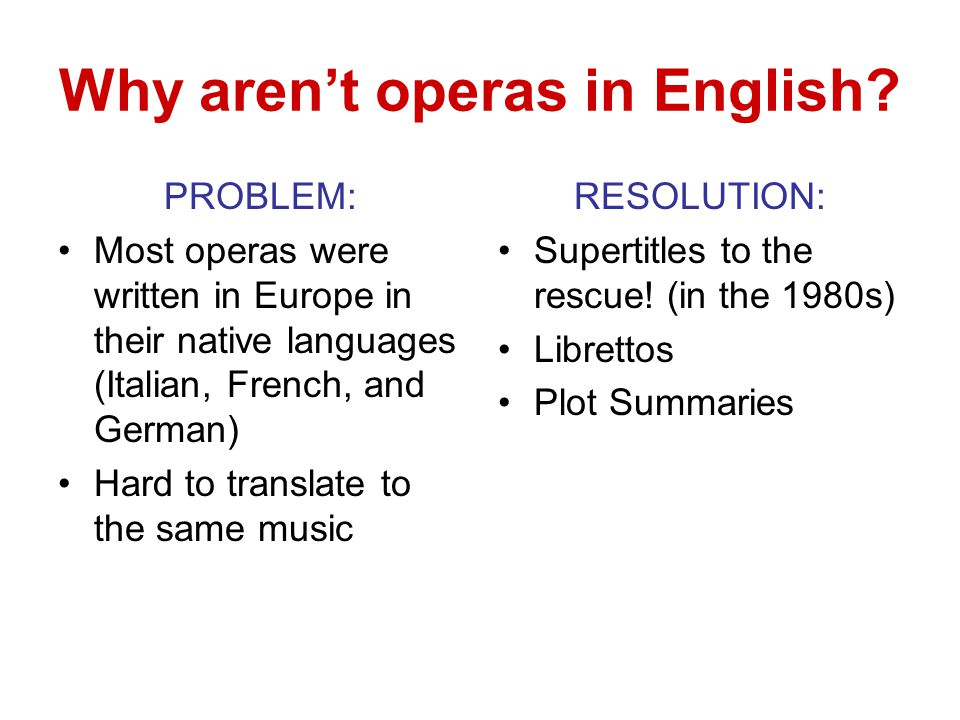 Why aren't operas in English? PROBLEM: Most operas were written in Europe in their native languages (Italian, French, and German) Hard to translate to