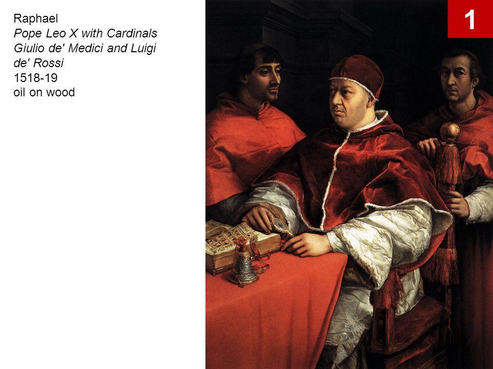 Raphael Pope Leo X with Cardinals Giulio de' Medici and Luigi de' Rossi 1518-19 oil on wood 1