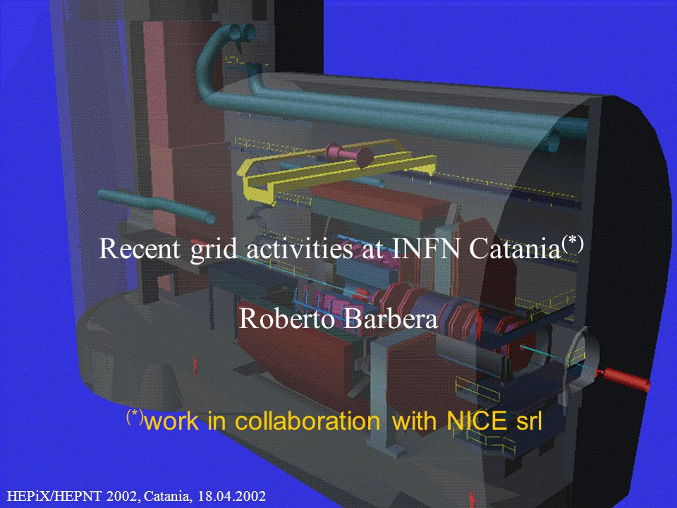1 CHEP 2000, Roberto Barbera Recent grid activities at INFN Catania (*) HEPiX/HEPNT 2002, Catania, (*) work in collaboration with NICE srl