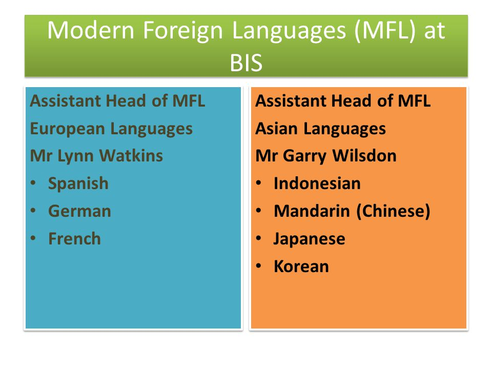 Modern Foreign Languages (MFL) at BIS Assistant Head of MFL European Languages Mr Lynn Watkins Spanish German French Assistant Head of MFL European La