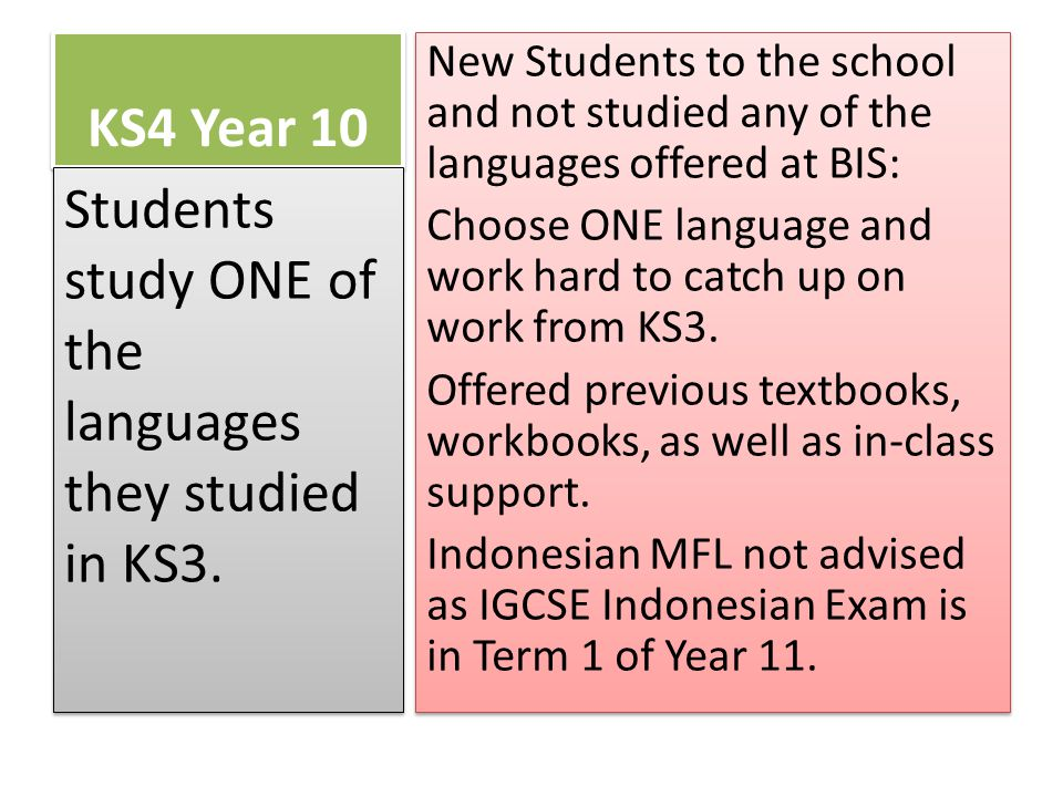 KS4 Year 10 New Students to the school and not studied any of the languages offered at BIS: Choose ONE language and work hard to catch up on work from