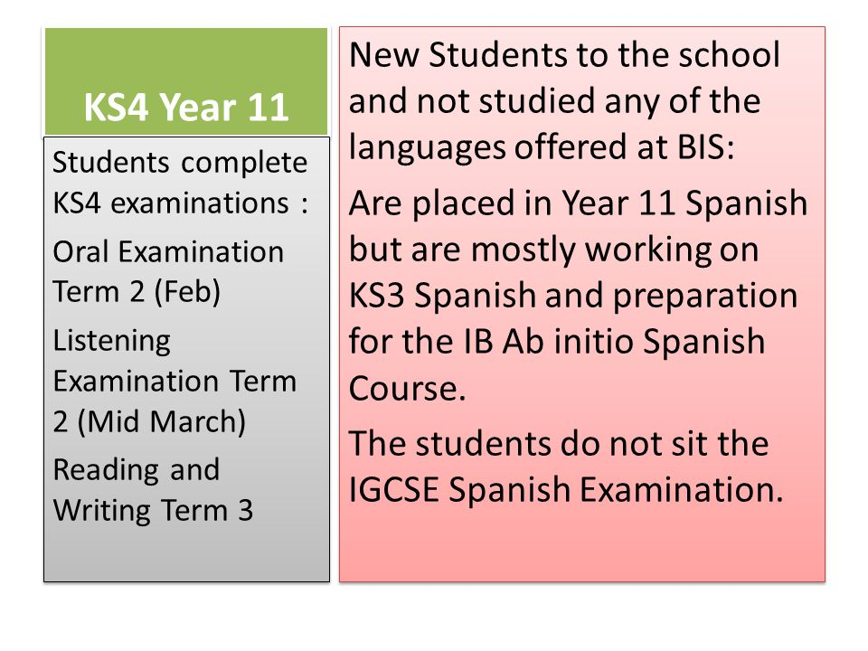KS4 Year 11 New Students to the school and not studied any of the languages offered at BIS: Are placed in Year 11 Spanish but are mostly working on KS3 Spanish and preparation for the IB Ab initio Spanish Course.