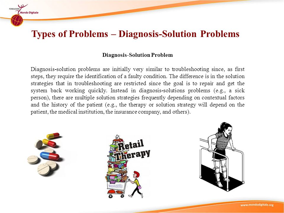 Diagnosis-Solution Problem Diagnosis-solution problems are initially very similar to troubleshooting since, as first steps, they require the identific