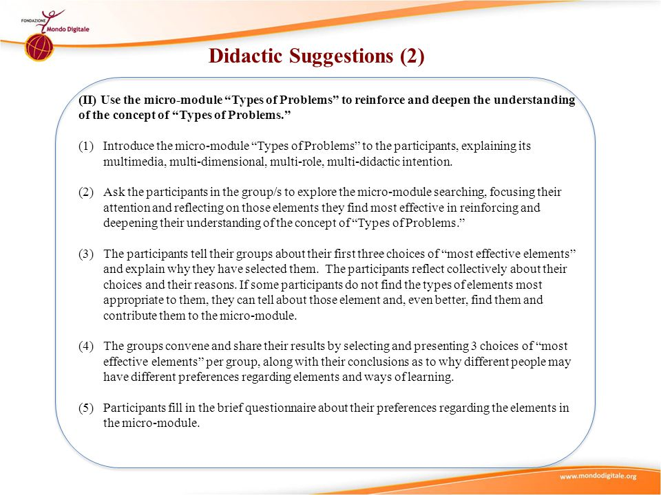 """Didactic Suggestions (2) (II) Use the micro-module """"Types of Problems"""" to reinforce and deepen the understanding of the concept of """"Types of Problems."""