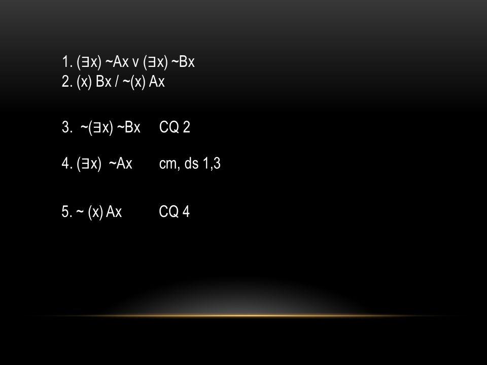 1. ( ∃ x) ~Ax v ( ∃ x) ~Bx 2. (x) Bx / ~(x) Ax 3. ~( ∃ x) ~BxCQ 2 4. ( ∃ x) ~Axcm, ds 1,3 5. ~ (x) Ax CQ 4