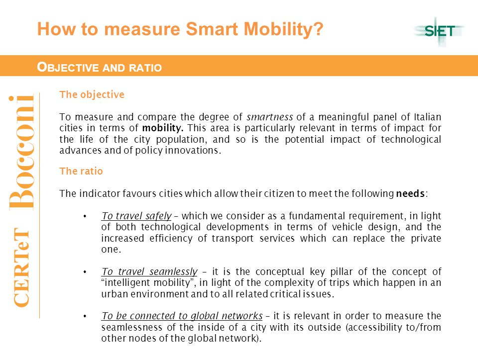 CERTeT How to measure Smart Mobility.