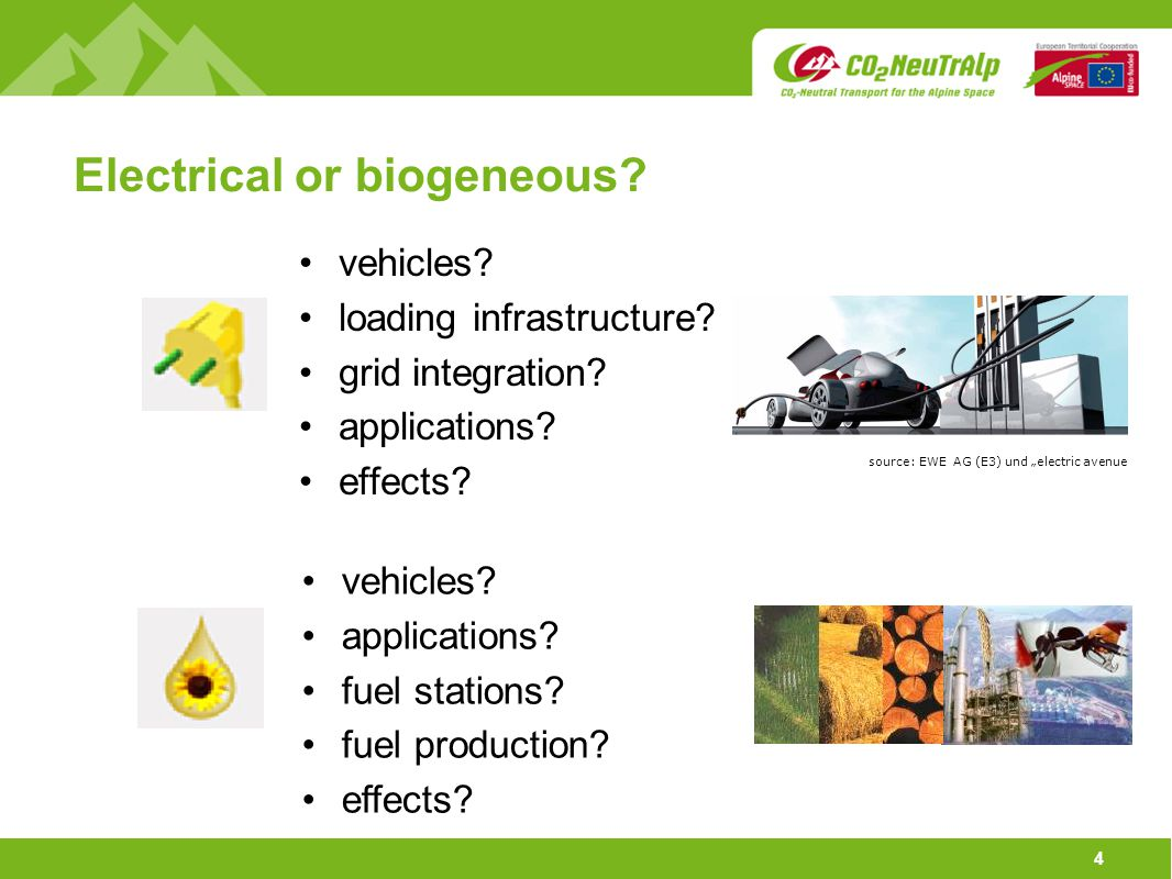 4 Electrical or biogeneous? vehicles? loading infrastructure? grid integration? applications? effects? vehicles? applications? fuel stations? fuel pro