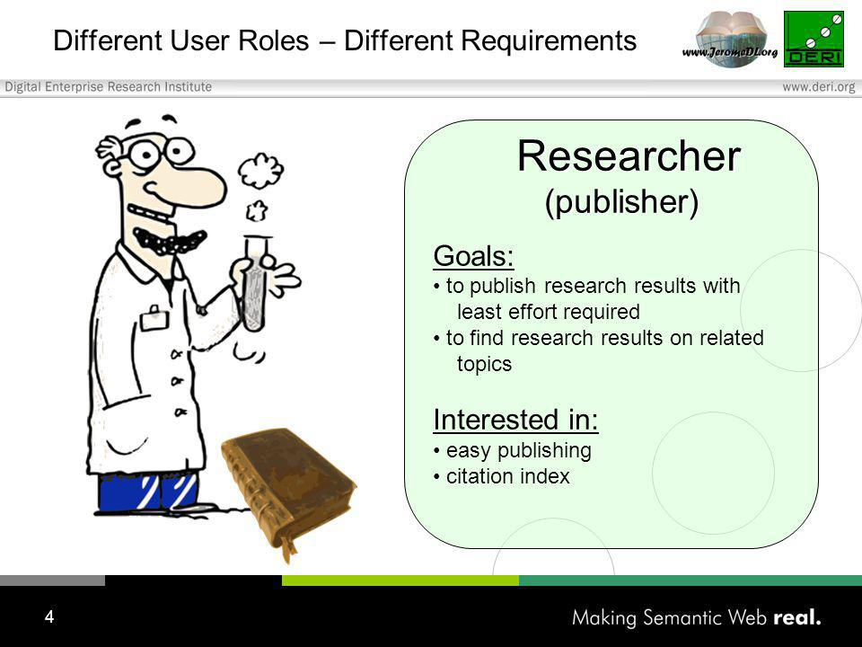4 Different User Roles – Different Requirements Researcher Researcher (publisher) (publisher) Goals: to publish research results with least effort required to find research results on related topics Interested in: easy publishing citation index