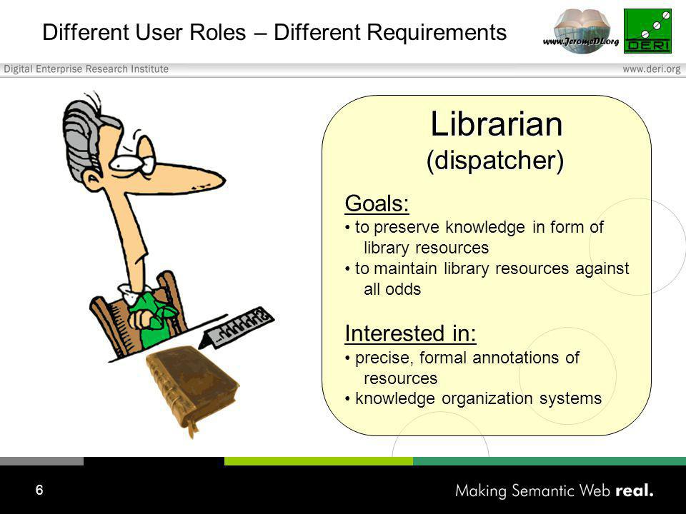 6 Different User Roles – Different Requirements Librarian Librarian (dispatcher) (dispatcher) Goals: to preserve knowledge in form of library resources to maintain library resources against all odds Interested in: precise, formal annotations of resources knowledge organization systems