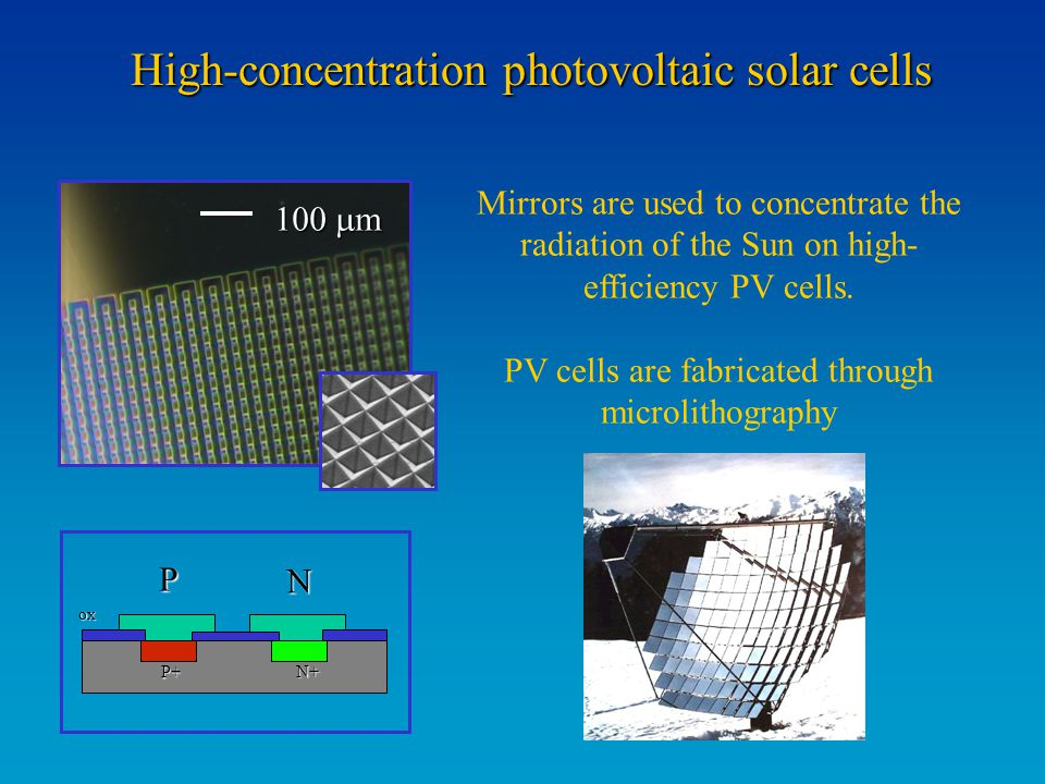 High-concentration photovoltaic solar cells Mirrors are used to concentrate the radiation of the Sun on high- efficiency PV cells. PV cells are fabric
