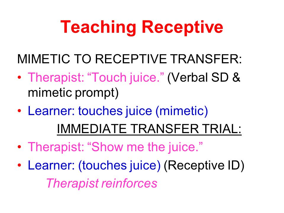 "Teaching Receptive MIMETIC TO RECEPTIVE TRANSFER: Therapist: ""Touch juice."" (Verbal SD & mimetic prompt) Learner: touches juice (mimetic) IMMEDIATE TR"