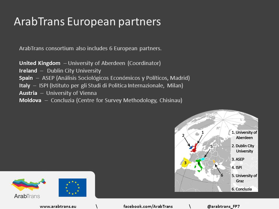 ArabTrans European partners ArabTrans consortium also includes 6 European partners.