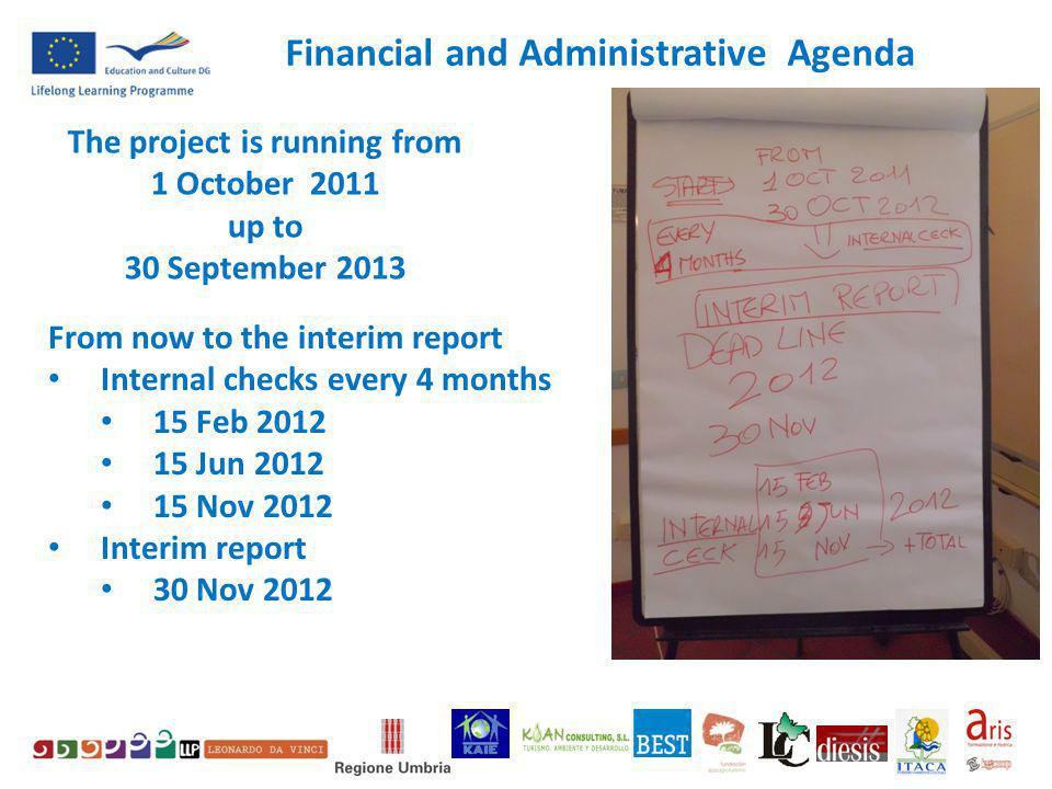 The project is running from 1 October 2011 up to 30 September 2013 From now to the interim report Internal checks every 4 months 15 Feb 2012 15 Jun 2012 15 Nov 2012 Interim report 30 Nov 2012 Financial and Administrative Agenda