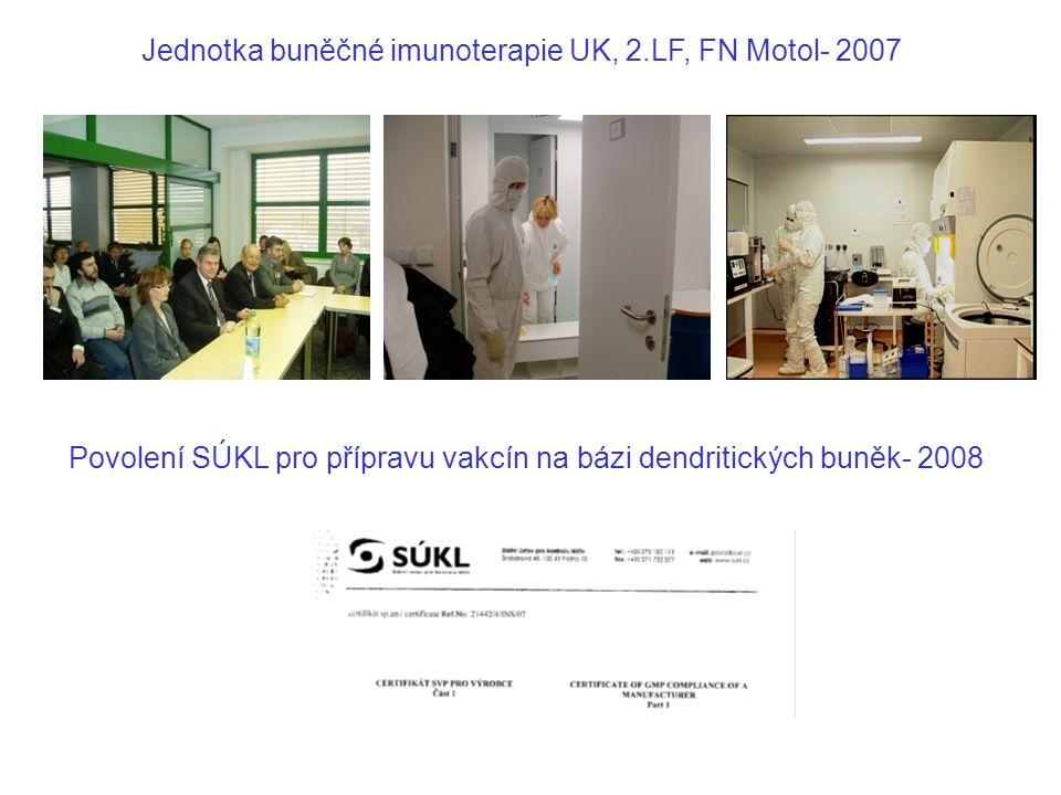 Jednotka buněčné imunoterapie UK, 2.LF, FN Motol- 2007 Povolení SÚKL pro přípravu vakcín na bázi dendritických buněk- 2008