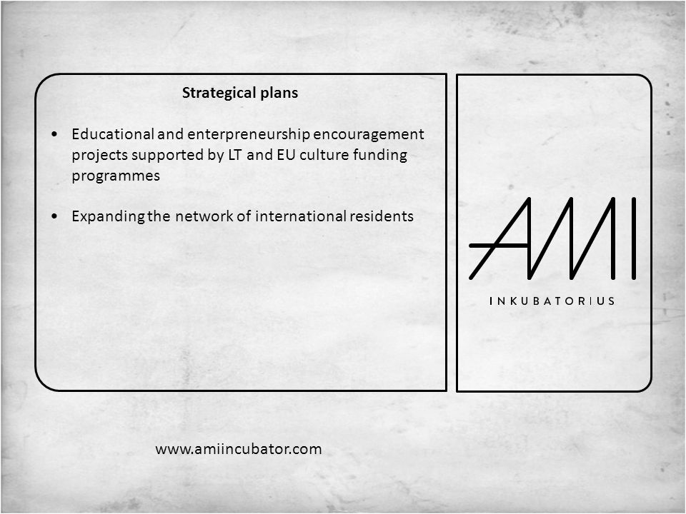 Strategical plans Educational and enterpreneurship encouragement projects supported by LT and EU culture funding programmes Expanding the network of international residents www.amiincubator.com