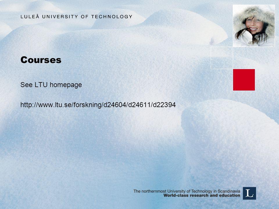 Courses See LTU homepage http://www.ltu.se/forskning/d24604/d24611/d22394
