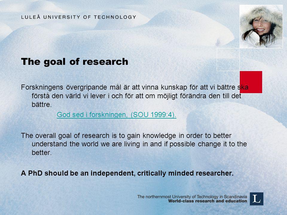 The goal of research Forskningens övergripande mål är att vinna kunskap för att vi bättre ska förstå den värld vi lever i och för att om möjligt förän
