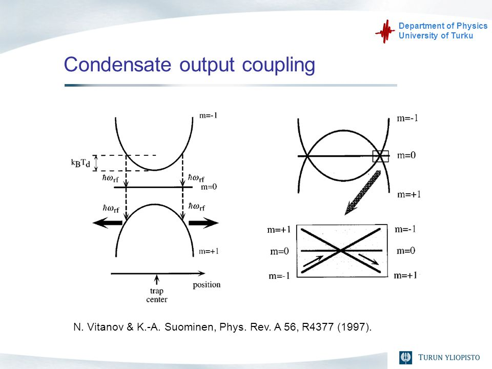Department of Physics University of Turku Condensate output coupling N.