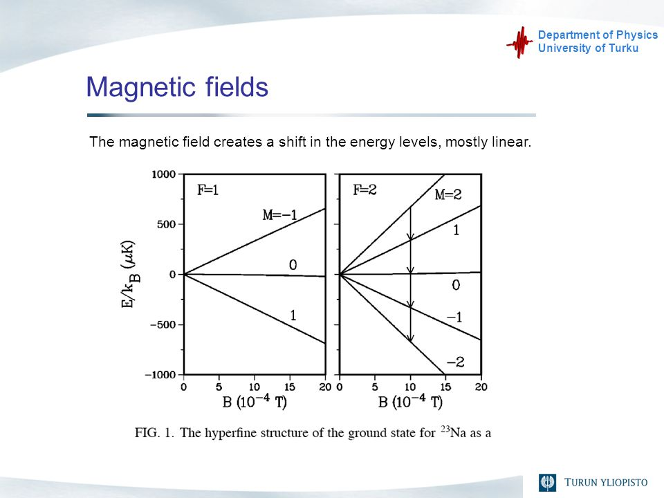 Department of Physics University of Turku Magnetic fields The magnetic field creates a shift in the energy levels, mostly linear.