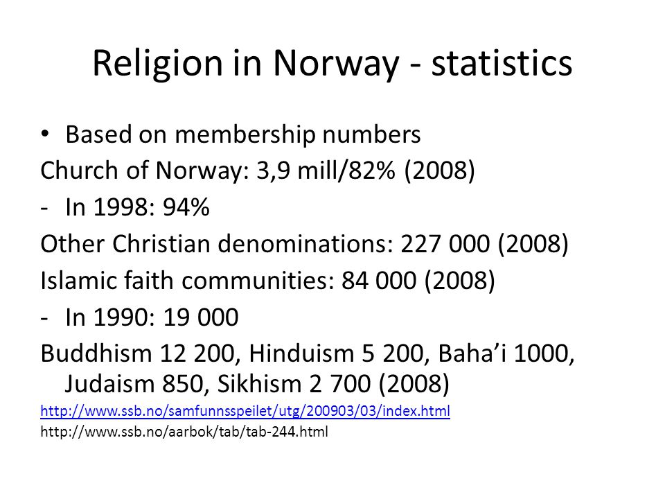 Religion in Norway - statistics Based on membership numbers Church of Norway: 3,9 mill/82% (2008) -In 1998: 94% Other Christian denominations: 227 000 (2008) Islamic faith communities: 84 000 (2008) -In 1990: 19 000 Buddhism 12 200, Hinduism 5 200, Baha'i 1000, Judaism 850, Sikhism 2 700 (2008) http://www.ssb.no/samfunnsspeilet/utg/200903/03/index.html http://www.ssb.no/aarbok/tab/tab-244.html