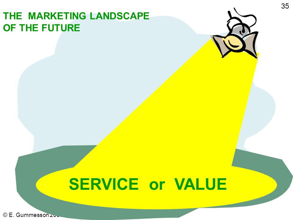 "© E. Gummesson 2009 34 References: Total Relationship Marketing pp. 9-11 and other pages (see Index) Vargo, S. L. and Lusch, R. F. (2008), ""Service-do"