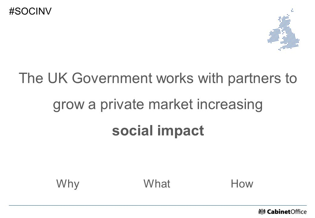 The UK Government works with partners to grow a private market increasing social impact WhyWhatHow #SOCINV