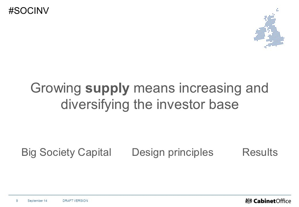 September 14DRAFT VERSION9 #SOCINV Growing supply means increasing and diversifying the investor base Big Society CapitalDesign principlesResults