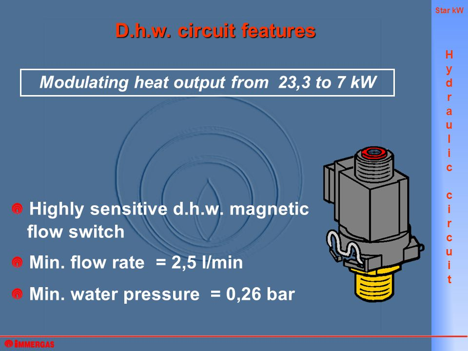 Star kW Highly sensitive d.h.w. magnetic flow switch Min.